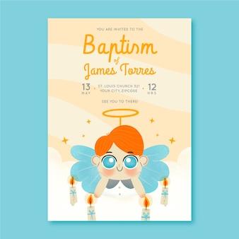 Convite de batismo desenhado à mão