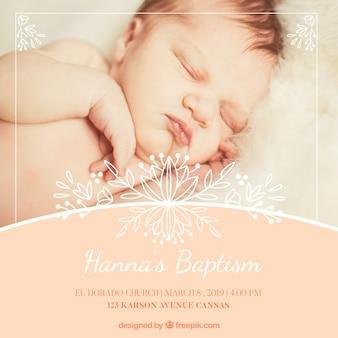 Convite de batismo elegante