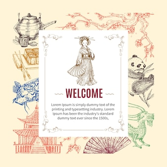 Convite de boas-vindas à ásia