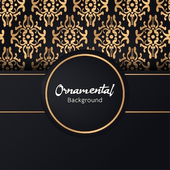 Convite de cartão com rendas e ornamentos florais, ilustração de fundo ouro padrão ornamental