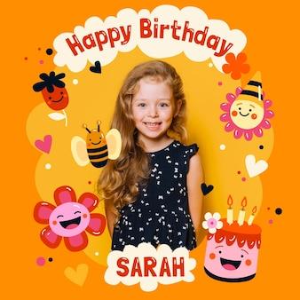 Convite de cartão de aniversário para crianças com modelo de foto