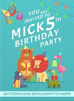 Convite de cartão de aniversário. saudação bebê convidar cartaz com imagens coloridas de animais selvagens com presentes modelo de design