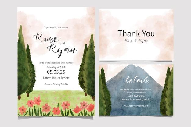 Convite de cartão de casamento com ilustração em aquarela de paisagem