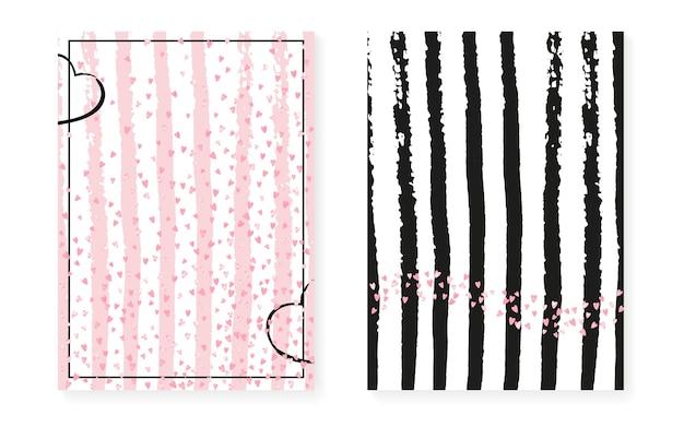 Convite de cartão de casamento com pontos e lantejoulas. chuveiro nupcial com confete rosa glitter. fundo de listras verticais. cartão de casamento do vintage para festa, evento, salvar o panfleto de data.