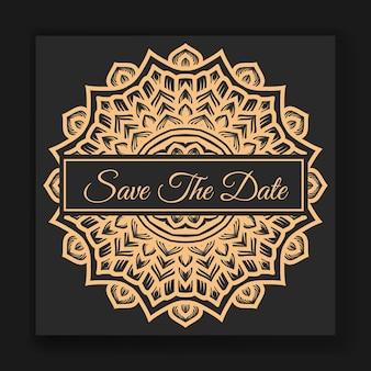 Convite de cartão de casamento elegante com modelo de mandala