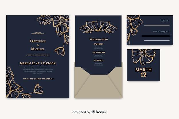 Convite de cartão de casamento floral