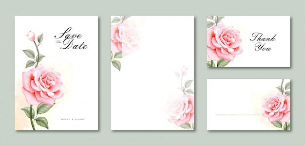 Convite de cartão de casamento modelo em branco conjunto aquarela