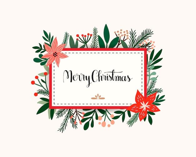 Convite de cartão de natal com moldura floral, flores e plantas sazonais, mão lettering mensagem