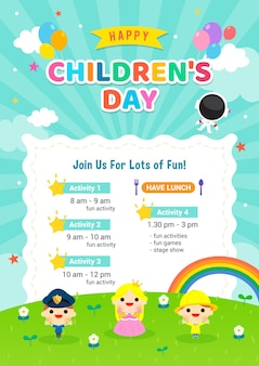 Convite de cartaz feliz do dia das crianças