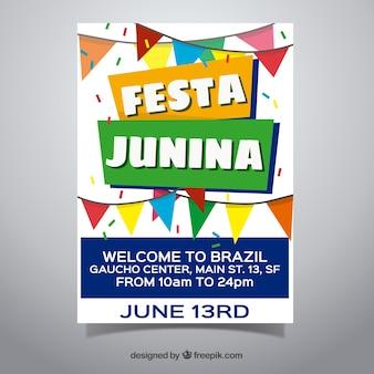 Convite de cartaz festa junina com bandeirolas planas