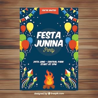 Convite de cartaz festa junina com elementos de festa