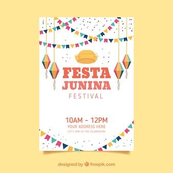 Convite de cartaz festa junina com elementos planos