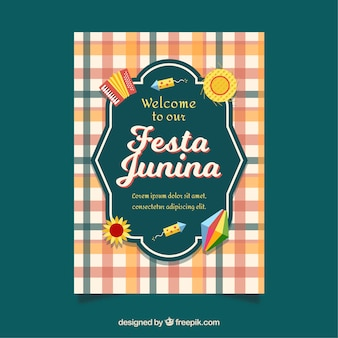 Convite de cartaz festa junina com elementos tradicionais