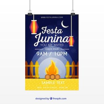 Convite de cartaz festa junina com fogueira à noite