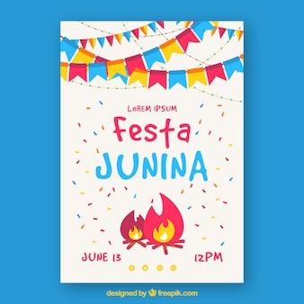 Convite de cartaz festa junina com fogueira e bandeirolas