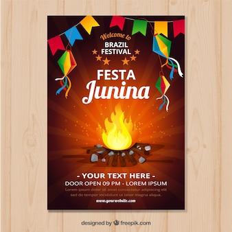 Convite de cartaz festa junina com fogueira