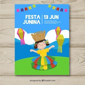 Convite de cartaz festa junina com garota feliz comemorando
