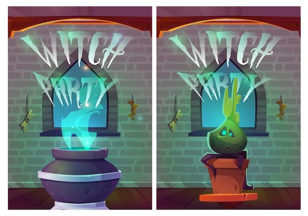 Convite de cartazes de desenhos animados para festa de bruxa para o halloween