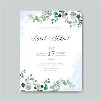 Convite de cartões de casamento com belos temas florais