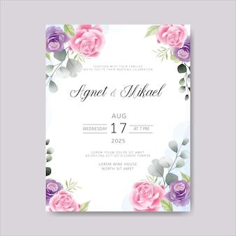 Convite de cartões de casamento com linda flor