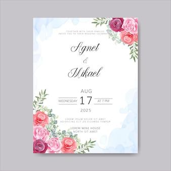 Convite de cartões de casamento com lindo floral