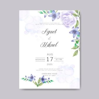 Convite de cartões de casamento com lindo modelo floral