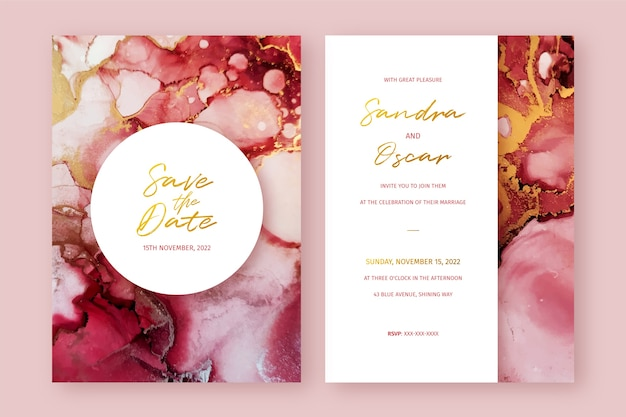 Convite de casamento abstrato com tinta alcoólica vermelha e dourada