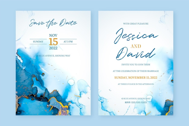 Convite de casamento abstrato em tinta de álcool azul e dourado