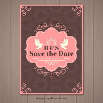 Convite de casamento agradável em estilo vintage