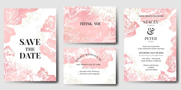 Convite de casamento aquarela abstrato rosa