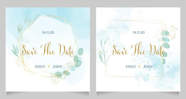 Convite de casamento aquarela azul com layout de modelo de coroa de flores moldura dourada