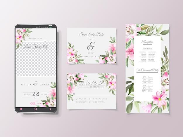 Convite de casamento aquarela floral para modelo de mídia social