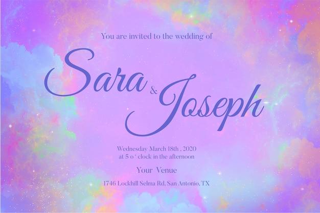 Convite de casamento aquarela galáxia