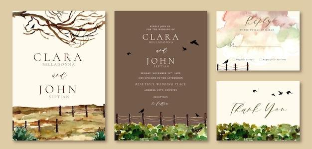 Convite de casamento aquarela paisagem de árvores e pássaros com tema marrom e verde outono
