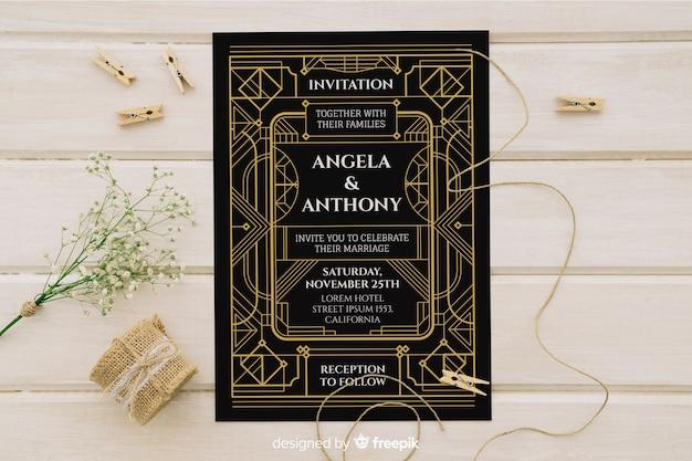 Convite de casamento art deco