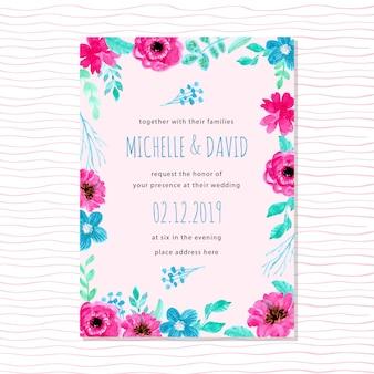 Convite de casamento azul com aquarela floral