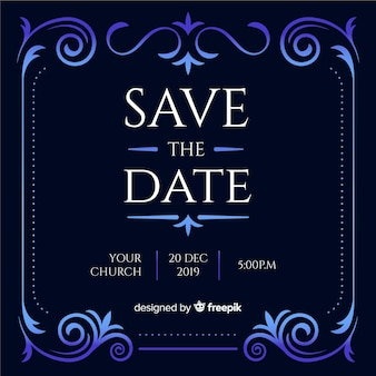 Convite de casamento azul com ornamentos