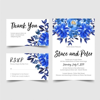 Convite de casamento azul linda flor aquarela