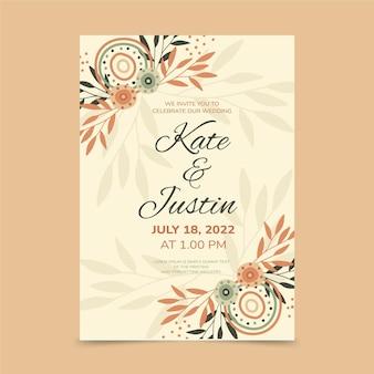Convite de casamento boho desenhado à mão