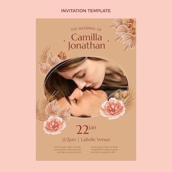 Convite de casamento boho em aquarela