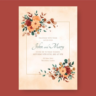 Convite de casamento boho pintado à mão em aquarela
