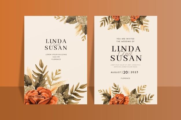 Convite de casamento boho pintado à mão