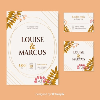 Convite de casamento bonito com flores