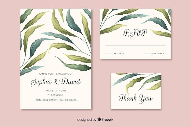 Convite de casamento bonito com folhas de mão desenhada