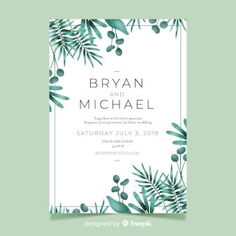 Convite de casamento bonito com folhas em aquarela