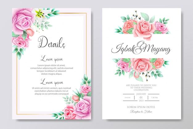 Convite de casamento bonito com folhas florais