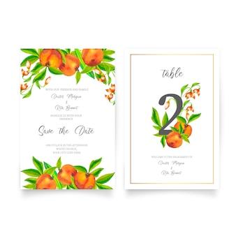 Convite de casamento bonito com frutas em aquarela