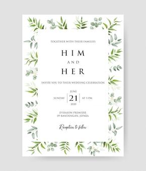 Convite de casamento bonito com grinalda decorativa de ramos de eucalipto & padrão de quadro.