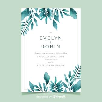 Convite de casamento bonito com modelo de folhas em aquarela