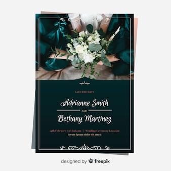 Convite de casamento bonito com modelo de foto